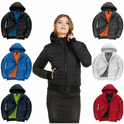 Womens Ladies Down Bomber Puffer Quilted Padded Coat Jacket Hooded Warm Fitted