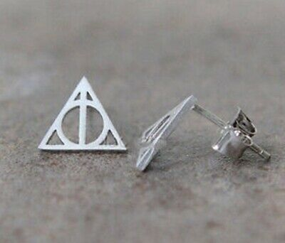 Harry Potter - Deathly Hallows  - Stud Earrings - Silver - Gold - Black - Gift