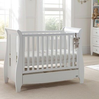 Tutti Bambini Katie Cot Bed In White + Sprung Mattress nursery furniture Wood