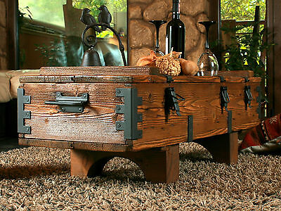 Coffe Table Rustic Wood Pine Chest Trunk Blanket Box Vintage Cottage
