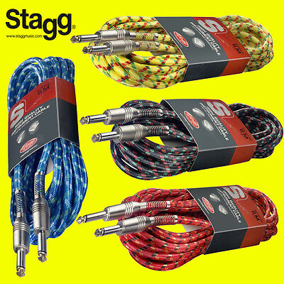 Stagg 6M Vintage Tweed Guitar Bass Instrument Cable High Quality Colour Choice