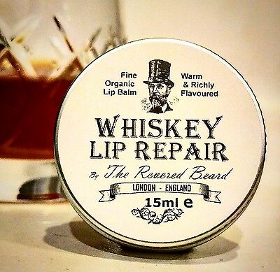 Whiskey Lip Balm, Men's Lip Repair by Revered Beard. Great Gift!