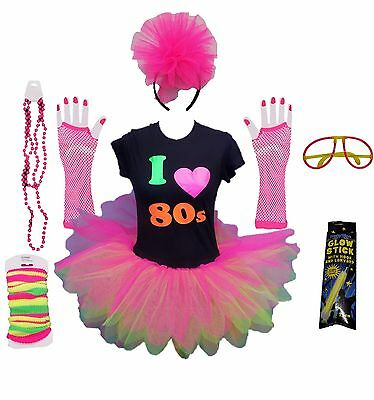 I LOVE 80s NEON PINK TUTU 80'S FANCY DRESS TSHIRT SET LEG WARMERS GLOVES BEADS