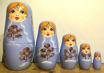New 5pcs/set Matryoshka Russian Nesting Dolls Babushka Wooden Gift Soft Purple