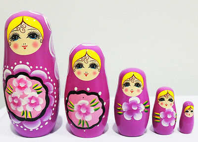 New 5pcs/set Matryoshka Russian Nesting Dolls Babushka Wooden Toys Gift Purple