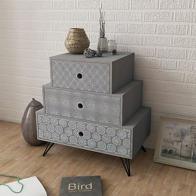 Grey Bedside Table Bed Side Nightstand Bedroom 3 Drawer Cabinet Night Lamp Stand