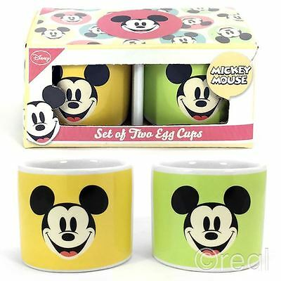 New Disney Mickey Mouse Set Of 2 Ceramic Egg Cups Breakfast Official Licensed