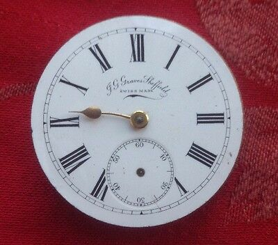 J G Graves Sheffield  Pocket Watch Movement  For Spares Repair Good Balance