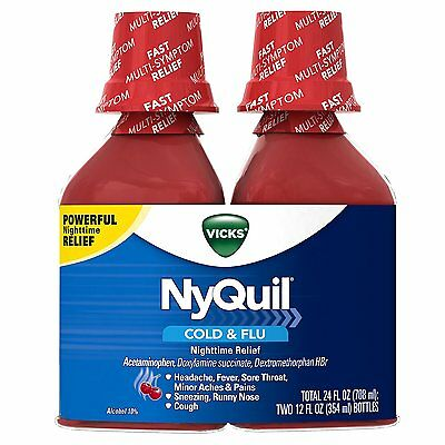 Vicks NyQuil Cold and Flu Nighttime Relief Cherry Liquid Twin Pack, 2 x 12 oz