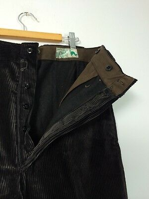 Vtg 40s Deadstock French Black Brown Cord Work Wear Chore Trousers Pants Worker