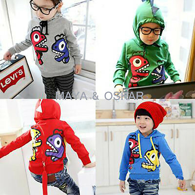 BABY BOY DINO MONSTER DINOSAUR DRAGON HOODIE Tracksuit Fleece TOP HOOD 12-18m