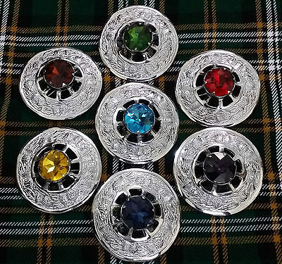 Scottish Kilt Fly Plaid Stone Brooch Various Design Chrome Finish/Pin Brooches