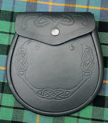 New Men's Highland Kilt Sporran Semi Dress Black Leather Celtic Embossing Design