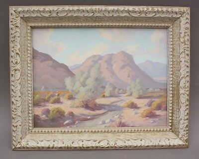 Early 1900's Plein Air California Desert Landscape Painting Antique Art (9534)