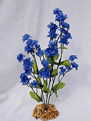 Soft Artificial Fish Aquarium Royal BLUE 11 in. silk FLOWER PLANT w/ STONE BASE