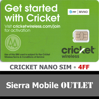 CRICKET WIRELESS NANO 4FF SIM Card • GSM 4GLTE •  NEW •  AT&T Network MVNO