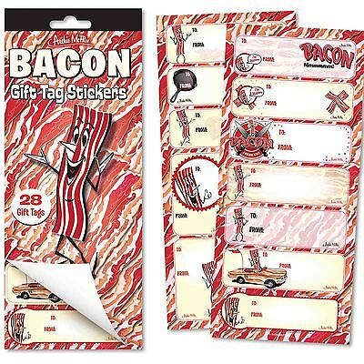 Bacon Gift Tag Stickers Meat Lover Novelty Gift Joke Gag Christmas Birthday