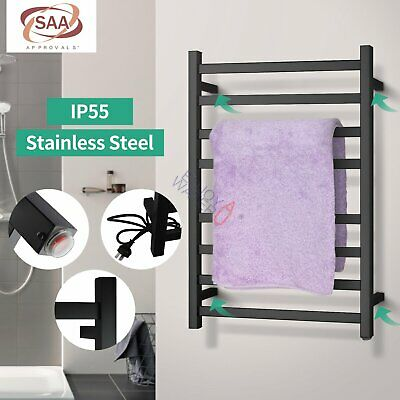 Electric Heated Towel Rail Rack Square Wall Mount 8 Bars Stainless Steel Black