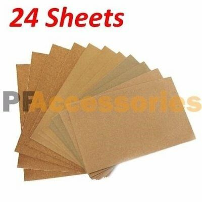 "24 Sheets Assorted Grits Sandpaper Sanding Paper 9 x 11"" inch LOT for Wood Paint"