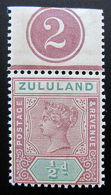 Mint Never Hinged Zululand 15 with Control Number MNH OG