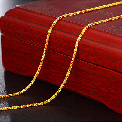 Authentic 24k Yellow Gold Necklace Charm Wheat Link Chain 17 Inch