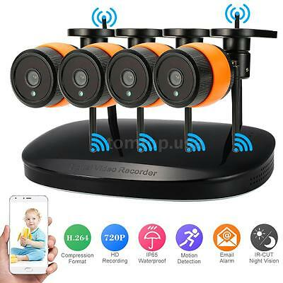 4CH NVR 720P IP Network Wireless WiFi Outdoor Home Security Camera System UK
