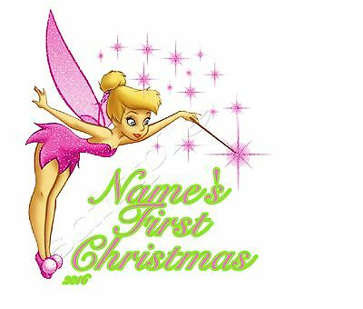 IRON ON TRANSFER PERSONALISED MY FIRST CHRISTMAS PINK TINKERBELL 12x12cm