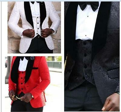 Groomsmen Shawl Lapel Groom Tuxedos Red/White/Black Men Suits Wedding Best Man