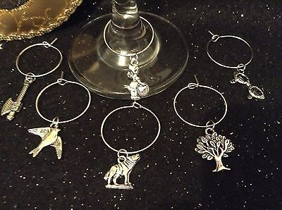 Wine Glass Charm - Set of 6 - Little Red Riding Hood Theme
