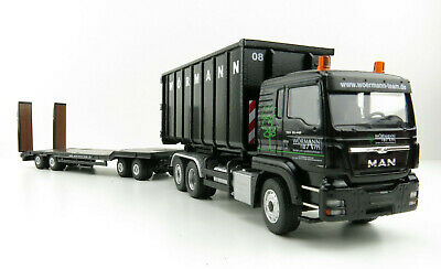 Drake ZT09181 AUSTRALIAN Drake 2x8 Dolly and 3x8 Swingwing Trailer Burgundy 1:50