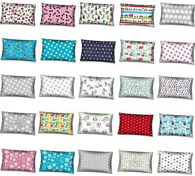BABY PILLOWCASE PATTERNED COT BED SINGLE BED 100% Cotton 40x60cm