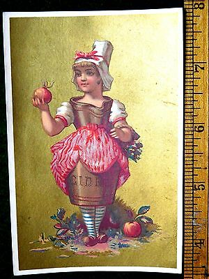 1870s-80s Lovely Lady With Hard Apple Cider Bottle or Jug Body Dress Card F6