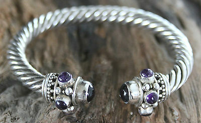 Fabulous Indian 925 Silver Twisted cable Torque Bangle Bracelet with Amethyst