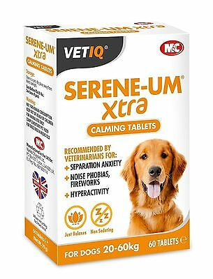 VetIQ Serene-Um Xtra 60 Calming Tablets For Dogs - Calms Hyperactivity & Stress