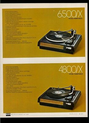 Rare Original BSR 6500/X 4800/X 210/X 2000/X Stereo Turntable Dealer Sheet Page