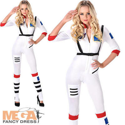Astronaut Ladies Fancy Dress Space Girl Uniform Womens Adults Costume Outfit New