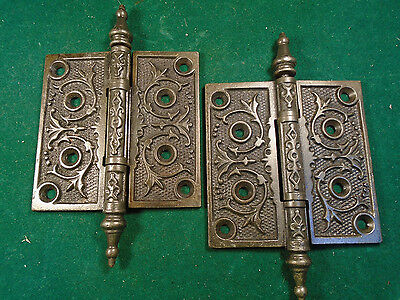 "Pair Vintage Eastlake Hinges  4""  X 4""  Steeple Top - Beautiful  (6283)"