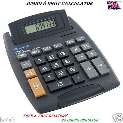 New Jumbo Desktop Calculator 8 Digit Large Button School Home Office Battery New