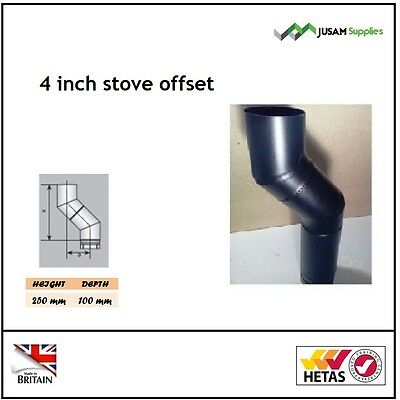 4 Inch Stove Flue Pipe Offset Black For Wood Burning Stoves