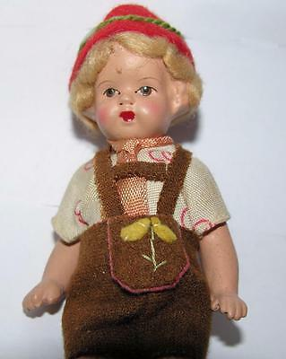Vtg 1930's Miniature Swiss Boy Composite Doll, Dressed In Swiss Alpine Clothes