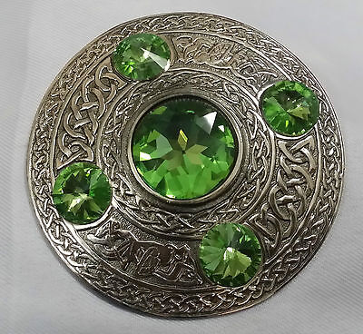 "Men's Scottish Kilt Fly Plaid Brooch Celtic Design Irish Green Stone 4""/Brooches"