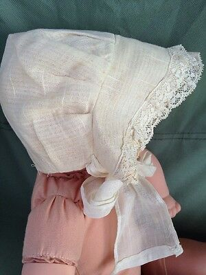 Baby Doll Infant Baby Batiste Cotton Lace Bonnet Victorian Edwardian Handmade