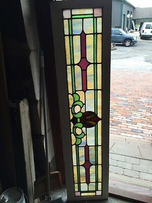 "Sg 834 Antique Stained Glass Transom Window 15"" X 63.5"""