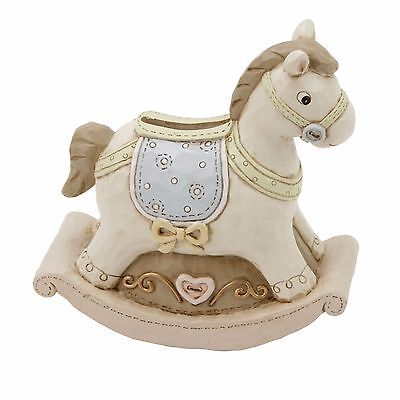 Baby Boy/girl Rocking Horse Resin Money Box Bank Christening Gift New Baby Gift