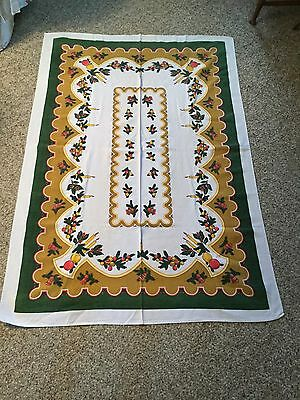 """Vintage Linen Christmas Tablecloth ~ Holly ~ Ornaments ~ Candles ~ 53"""" X 36"""""""