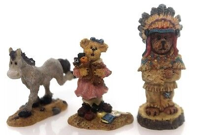 MK Boyds Bears Resin CHIEF WOODCHIP, DELORES, FLASH Bearly Built Village 195491