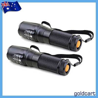 2X 2KLm Super Bright CREE XM-L T6 LED Zoomable Flashlight Torch 26650/18650/3AAA