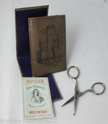 Inked Cover ETUI, SEWING SET- Scissor, Needle Book & Packet;  ANTIQUE c1900's