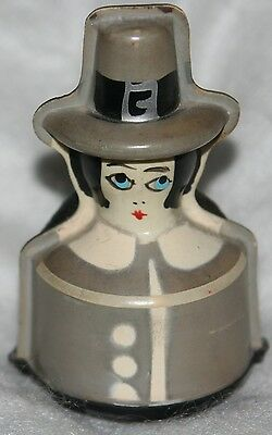 PILGRIM AntiqueTAPE MEASURE & PIN CUSHION,FIGURAL,Happy ThanksgivinG