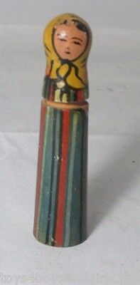 Russian Woman Painted Wood NEEDLE CASE ; ANTIQUE c1800's